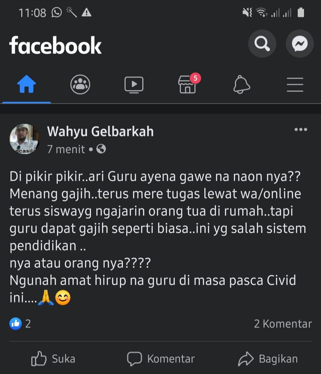 Status Akun Facebook Wahyu Gelbarkah Akan Dilaporkan Guru Kabupaten Karawang