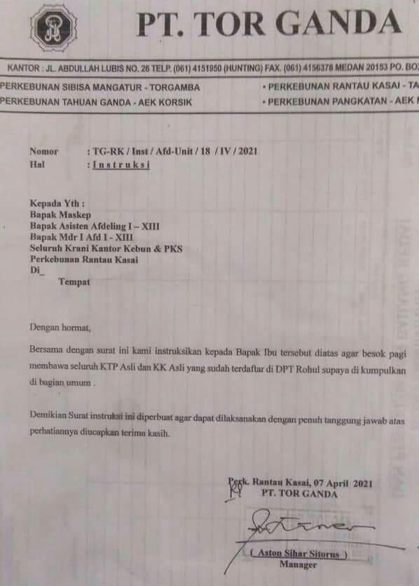 Surat Pengumpulan KTP dan KK di Kawasan PT. Torganda, Sugianto: Kita Lakukan Investigasi, Cabut Izinnya jika Terbukti Salah