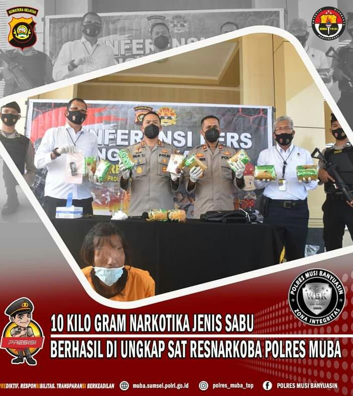 Satreskoba Polres Muba Berhasil Menggagalkan Peredaran 10 kg Sabu