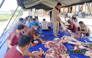 Polres Lamsel Lakukan Pemotongan Hewan Kurban, Kapolres : Penyaluran Tetap Lakukan Prokes