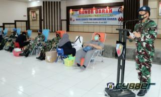 Giat Donor Darah Oleh Personel TNI AU Lanud Roesmin Nurjadin Pekanbaru