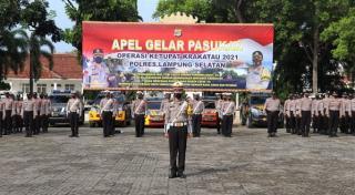Polres Lamsel Apel Gelar Pasukan Ops Ketupat Krakatau 2021