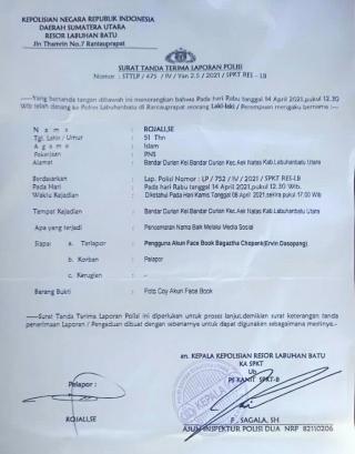 Pemilik Akun Bagaztha Chopang (Ervin) Dasopang Dilaporkan Kepolisi oleh Camat Rojali