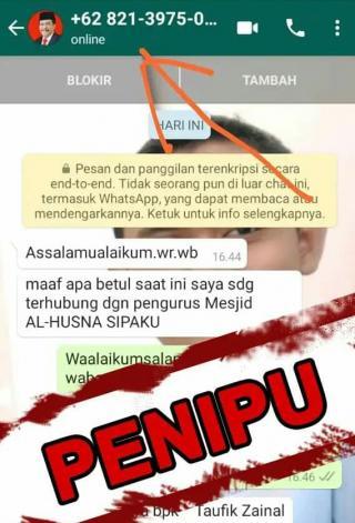 Oknum Penipu Dengan Nomor WhatsApp yang Mengaku Wakil Bupati Asahan